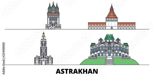 Photo Russia, Astrakhan flat landmarks vector illustration
