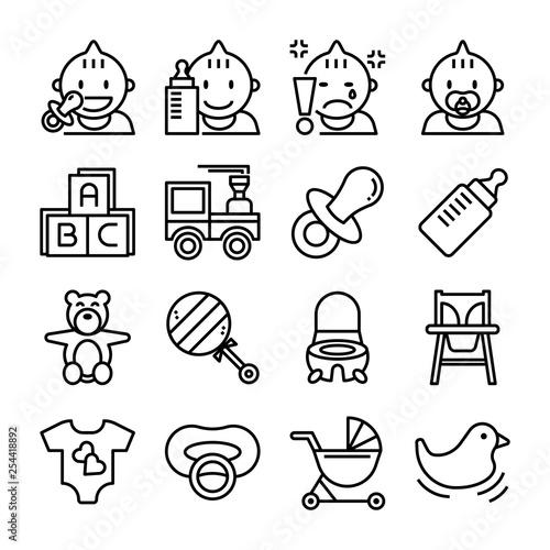 Fotografía  baby item vector outline icon set