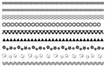 和風の飾り線 白黒