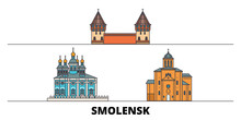 Russia, Smolensk Flat Landmarks Vector Illustration. Russia, Smolensk Line City With Famous Travel Sights, Design Skyline.