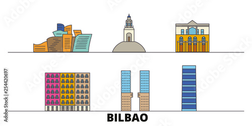 Spain, Bilbao flat landmarks vector illustration. Spain, Bilbao line city with famous travel sights, design skyline.