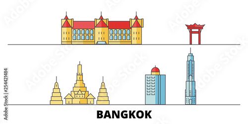 Thailand, Bangkok City flat landmarks vector illustration Wallpaper Mural