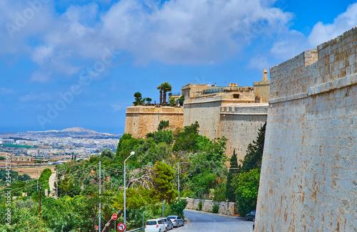 Foto  The ramparts of Mdina Fortress, Malta