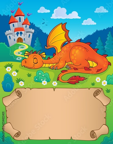 Tuinposter Voor kinderen Small parchment and sleeping dragon