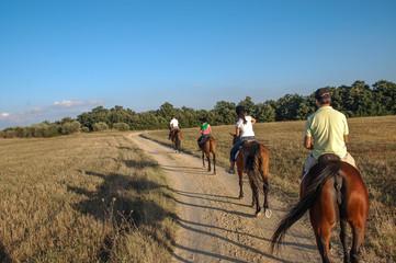 Paseo a caballo por la region de la Toscana, Italia