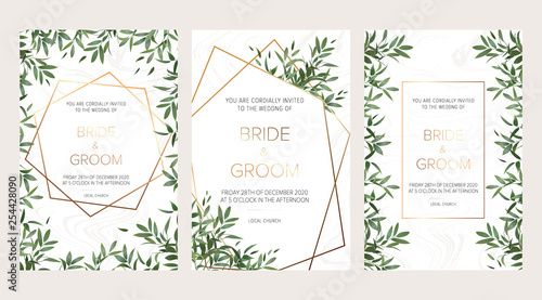 Fototapety, obrazy: Wedding floral invitation, thank you modern card: ruscus italian wreath on white marble texture with a golden geometric pattern. Elegant rustic template. All elements are isolated and editable
