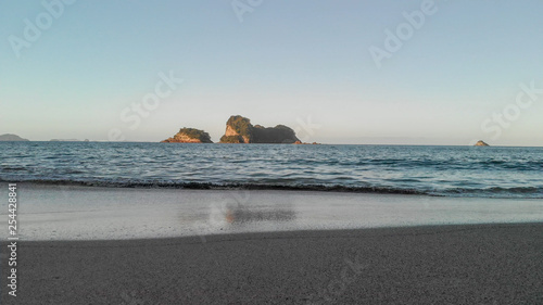 Aerial view of Cathedral Cove beach at winter sunset, Coromandel - New Zealand