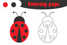 Ladybug In Cartoon Style, Coloring Page, Spring Education Paper Game For The Development Of Children, Kids Preschool Activity, Printable Worksheet, Vector Illustration
