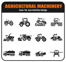 Agricultural Vehicles Icons Set
