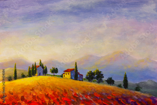 Original oil painting on canvas beautiful sunset in Tuscany artwork; Italy landscape Modern art illustration.