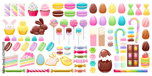 Fotobehang Macarons Colorful easter icons set vector illustration.