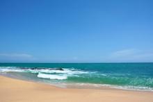 Ocean Waves With White Caps Breaking On The Shore. Indian Ocean, Sri Lanka