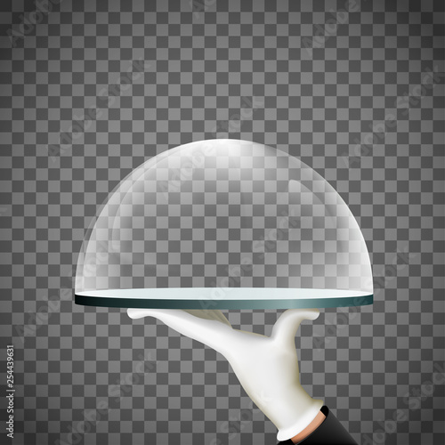 Waiter holds a tray with glass dome in his hand. Poster Mural XXL