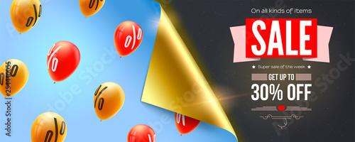Canvas-taulu Sale, special offer, banner with bended corner of paper, flying helium balloons in blue sky