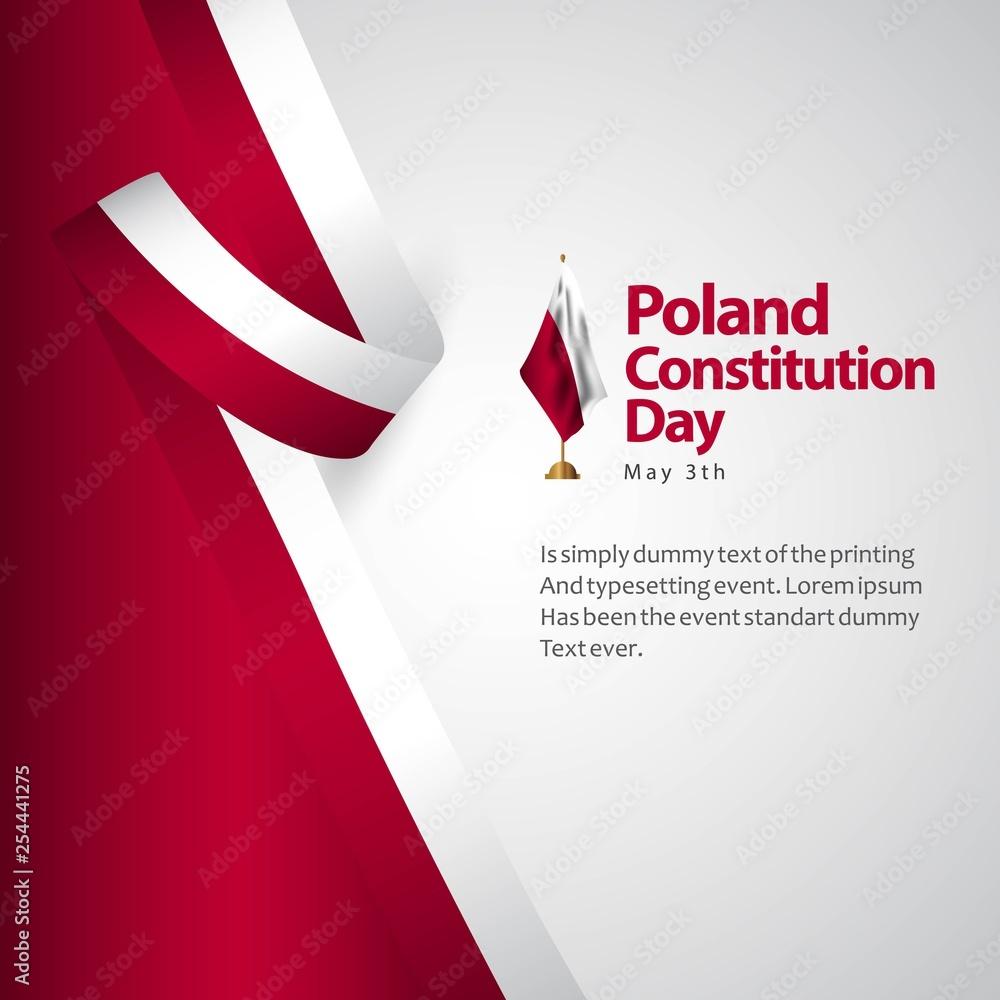 Fototapety, obrazy: Poland Constitution Day Flag Vector Template Design Illustration
