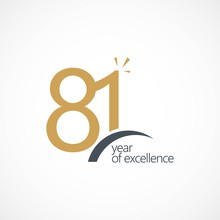 81 Year Of Excellence Vector Template Design Illustration