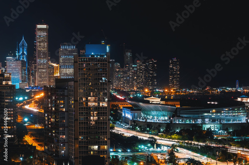 Aluminium Prints Los Angeles Downtown chicago cityscape skyscrapers skyline at night