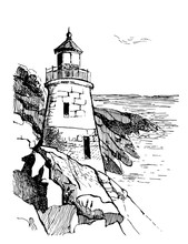 Sea Landscape With A Lighthouse. Sea Hand Drawn Sketch Illustration. Poster For A Children's Room. Beacon On A Rock In The Sea.Owls Head Light In Portland.