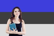 Study In Estonia. Successful Smart Woman On Estonian Flag Background