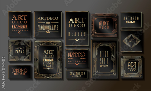 Photographie  Luxury Vintage Artdeco Frame Design. Vector illustration