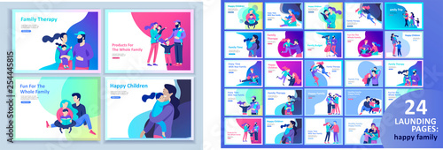 Obraz Set of Landing page templates happy family, travel and psychotherapy, family health care, goods entertainment for mother father and their children. Parents with daughter and son have fun togethers - fototapety do salonu