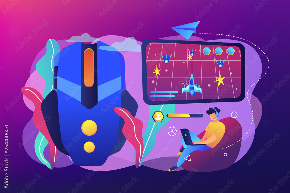 Photo  Action game concept vector illustration.