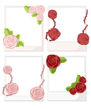 White Photo Frame With Roses W...