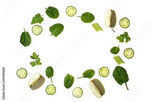 Zielona warzywno owocowa ramka z miejscem na tekst