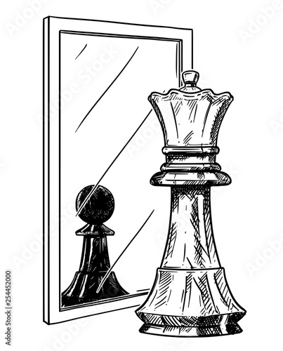 Fotografía Cartoon drawing and conceptual illustration of white chess pawn reflecting in mirror as black king
