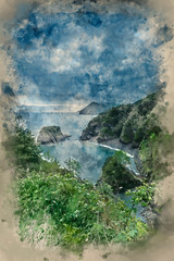 Panel Szklany Optyczne powiększenie Watercolor painting of Beautiful dramatic sunrise landsape image of small secluded cove at Combe Martin Bay