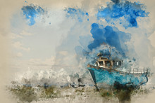 Watercolour Painting Of Abandoned Fishing Boat On Beach Landscape At Sunset