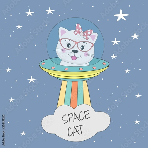 Cute cat astronaut in a mysterious object ufo in the sky night.