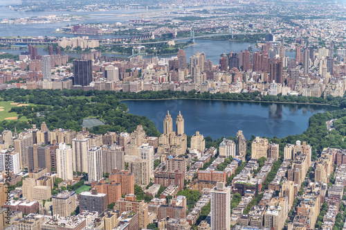 Fotografie, Obraz  Manhattan skyline and Central Park Lake from the helicopter on a sunny afternoon