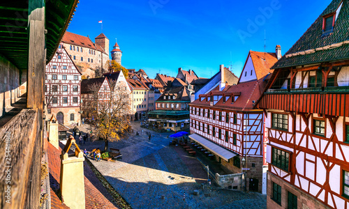 old town of medieval Nuremberg with traditional architecture, view from city wall. Travel in Germany