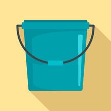 Plastic Bucket Icon. Flat Illu...