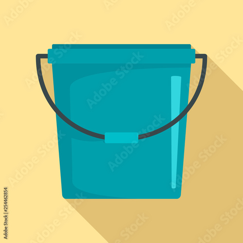 Plastic bucket icon. Flat illustration of plastic bucket vector icon for web design Wall mural