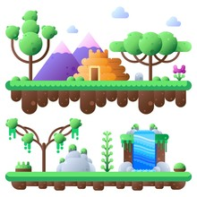 Tropical Jungle And Landscape With Bright Colors. Flat Vector Illustration Set. Elements For Your Mobile Game