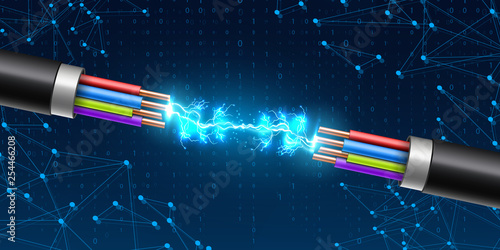Photo Creative vector illustration of electric glowing lightning between colored break cable, copper wires with circuit sparks isolated on transparent background