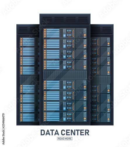Fotografía Creative vector illustration of server rack room, big data bank center isolated on transparent background