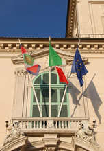 Italian Flags With The Symbol Of The Republic And Above The Entr