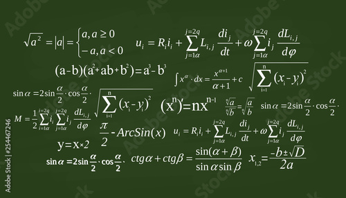 Foto Creative vector illustration of math equation, mathematical, arithmetic, physics formulas background