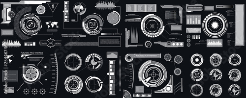 Photo  Creative vector illustration of HUD interface elements set, infographics Sci Fi isolated on transparent futuristic background
