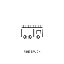 Fire Truck Vector Icon, Outlin...
