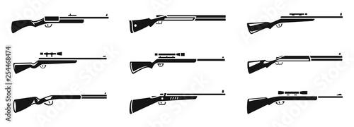 Fotografia Sniper hunting rifle icons set