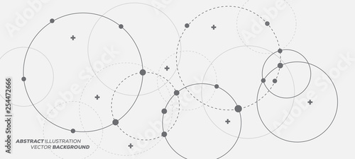 Abstract vector illustration with overlapping circles, dots and dashed circles. Science and connection concept. Wide molecule structure background.