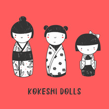 Three Kokeshi Dolls. Various Characters. Traditional Japanese Toys. Kawaii Illustration. Hand Drawn Graphic Vector Set. All Elements Are Isolated. Red Background