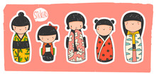 Cute Kokeshi Dolls. Various Characters. Traditional Japanese Toys. Kawaii Illustration. Hand Drawn Colored Vector Set. Stamp Texture. All Elements Are Isolated. Pre-made Sticker Set