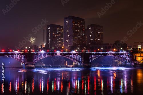 Glasgow green bridge with lights at night