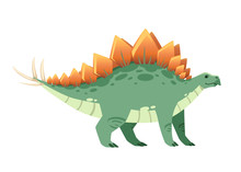 Green Stegosaurus . Cute Dinosaur, Cartoon Design. Flat Vector Illustration Isolated On White Background. Animal Of Jurassic World. Giant Herbivore Dinosaur
