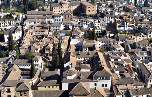Aerial view of Albayzin (Albaicin) old and historical moorish